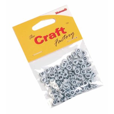 Alphabet Beads White / Black - 6mm - 100 Per Pack