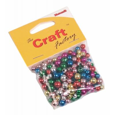 Metallic Multicoloured Craft Beads  - 30grams Per Pack