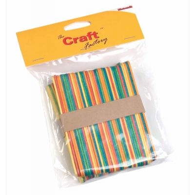 Wooden Craft / Ice Lolly Stick - Multicoloured - 100 Per Pack