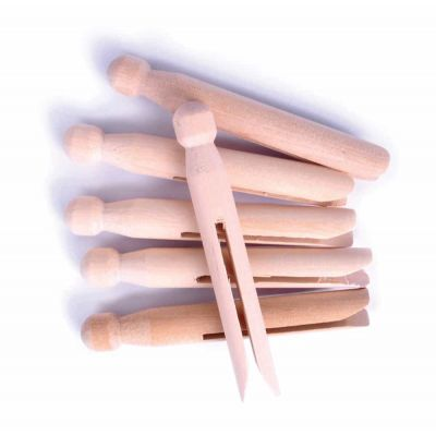Wooden Dolly Style Pegs - 107mm - 6 Per Pack
