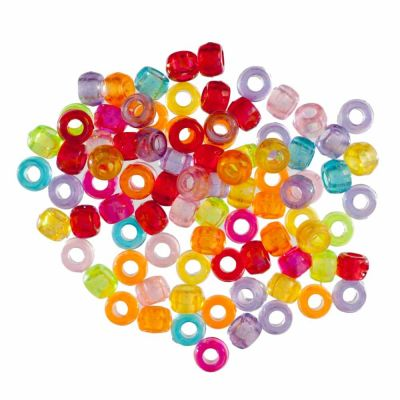 Pony / Barrel Beads - Transparent Assorted - 7mm - 20grams Per Pack