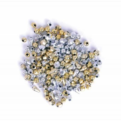 Plastic Small Beads - Gold / Silver Assorted - 20grams Per Pack