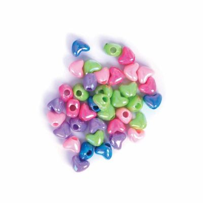 Plastic Heart Beads - Assorted - 10mm - 15grams Per Pack