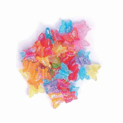 Plastic Butterfly Beads - Assorted - 15mm - 15 grams Per Pack