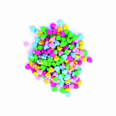 Plastic Heart Beads - Assorted - 6mm - 20grams Per Pack