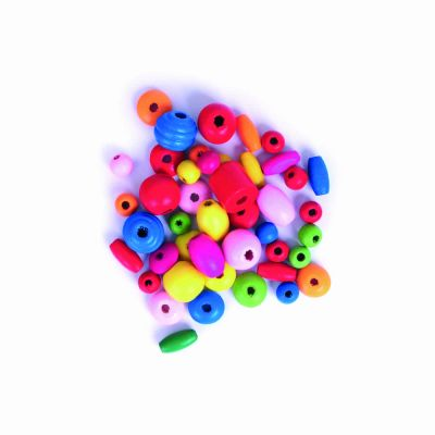 Wooden Mixed Size Beads - Multicoloured - 20grams Per Pack