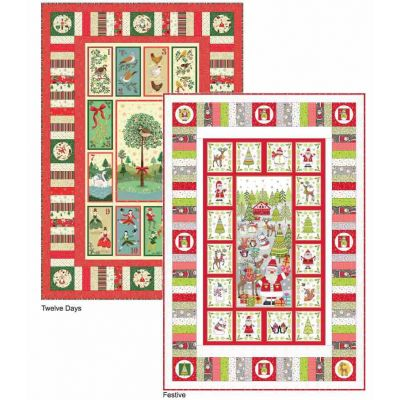 Makower Christmas 2019 Panel Quilt - Festive or Twelve Days - Free Download