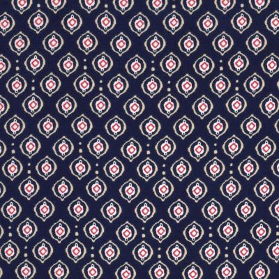 Regency Cotton Lawn Fabric - Circles On Navy