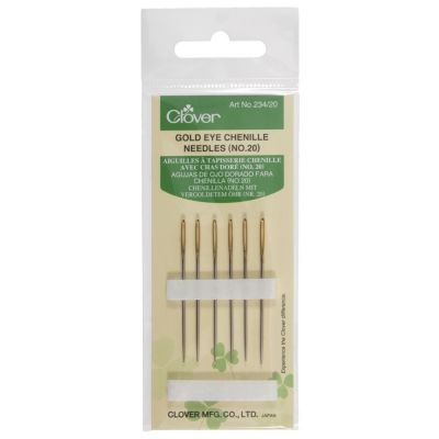 Clover Gold Eye Chenille Needles No 20 Pack of 6