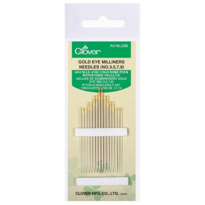 Clover Gold Eye Milliners Needles No. 3-9, Pack of 16