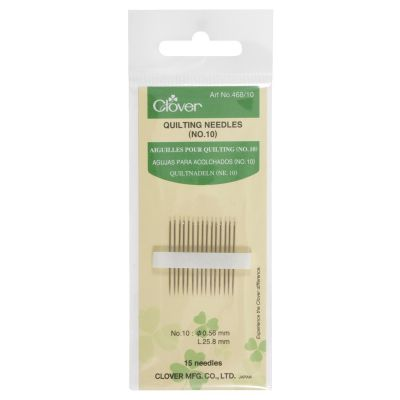 Clover Quilting Needles Size No 10: 15 to a Pack
