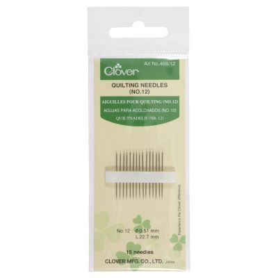 Clover Quilting Needles Size No 12: 15 to a Pack
