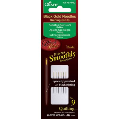 Clover Black Gold Needles: Quilting: No 9, Pack of 6