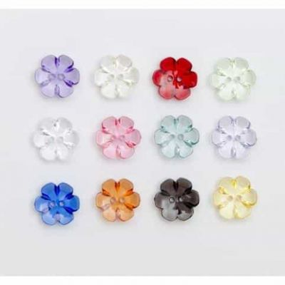 Clear Red Flower Shaped Button - 2 Hole 15mm