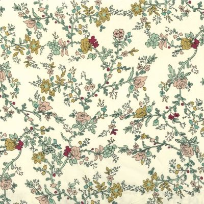 Regency Cotton Lawn Fabric - Climbing Roses On Cream