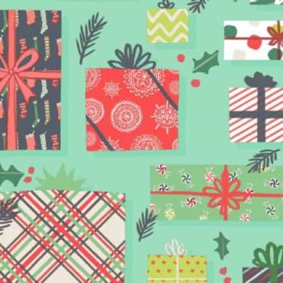 Clothworks 25 Days Of Christmas Light Teal Presents Cut Length