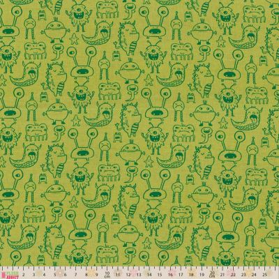 Clothworks Super Bad Monsters Monsters Lime Cut Length