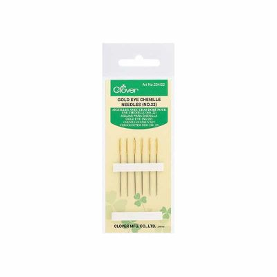 Clover Gold Eye Chenille Needles No 22 Pack of 6