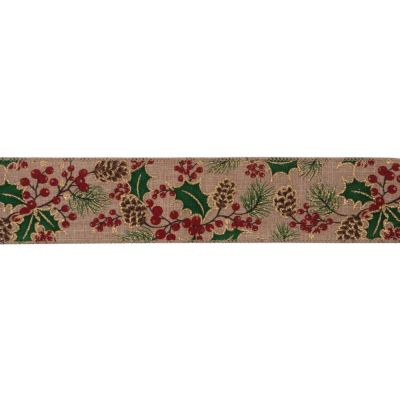 Premium Wire Edged Christmas Ribbon - Holly And Pine Cones On Natural - 63mm Wide