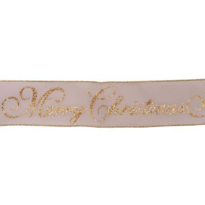 Premium Wire Edged Christmas Ribbon - Glitter Merry Christmas On Gold - 63mm Wide