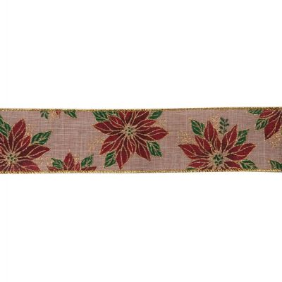 Premium Wire Edged Christmas Ribbon - Poinsettia On Natural - 63mm Wide