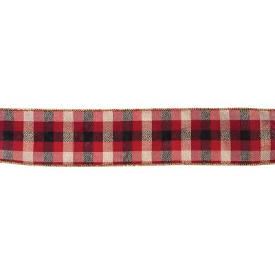 Premium Wire Edged Christmas Ribbon - Mordern Tartan Check - Red - 63mm Wide