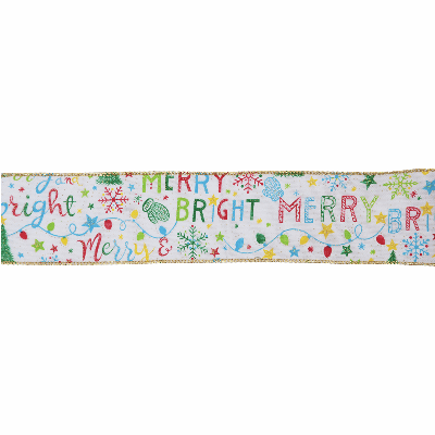 Remnant - 25m roll of Premium Wire Edge Ribbon: 63mm wide : Merry & Bright - Discontinued Line