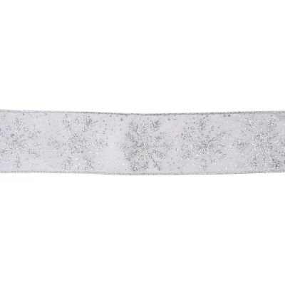 Premium Wire Edged Christmas Ribbon - Glitter Snowflakes On Silver - 63mm Wide