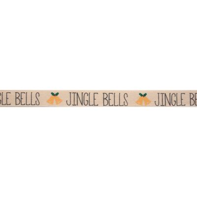 Bowtique Novelty Christmas Ribbon - Jingle Bells On Natural - 15mm