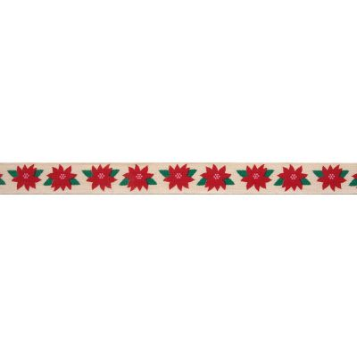 Bowtique Novelty Christmas Ribbon - Poinsettia On Natural - 15mm