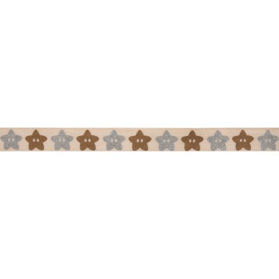 Bowtique Novelty Christmas Ribbon - Star Buttons On Natural - 15mm