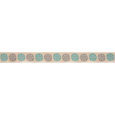 Bowtique Novelty Christmas Ribbon - Snowflakes On Natural - 15mm