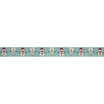 Bowtique Novelty Christmas Ribbon - Snowmen On Blue - 15mm