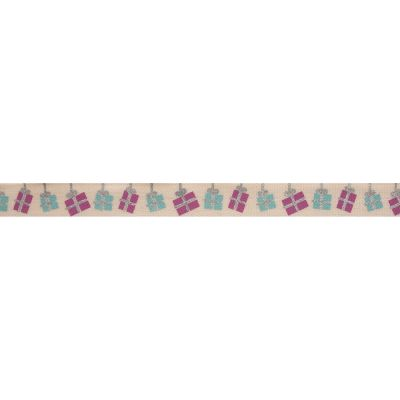 Bowtique Novelty Christmas Ribbon - Presents On Natural - 15mm