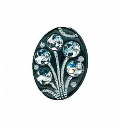 Diamonte Flower Black Oval Shank Buttons 21mm x 15mm