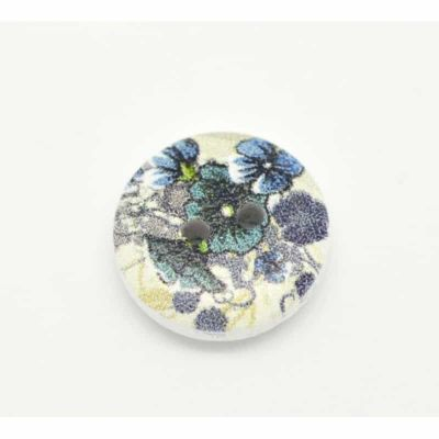 Round Wooden Blue Iris Design Button 15mm