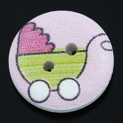 Round Wooden Pram Design Button 15mm