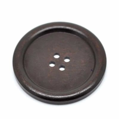 Large Round Rimmed Dark Wooden Buttons 60mm