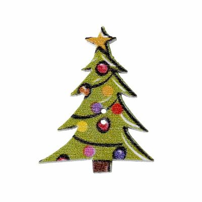 Painted Christmas Tree Buttons 23mm - Pack of 10