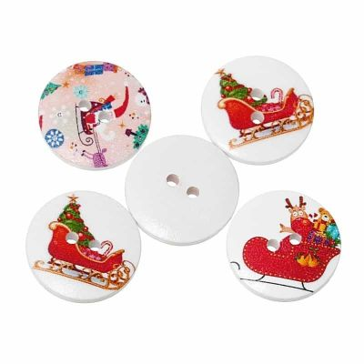 Round White Mixed Christmas Designs Buttons 20mm - Pack of 10