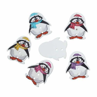 Painted Mixed Penguin Button 29mm - Pack of 5