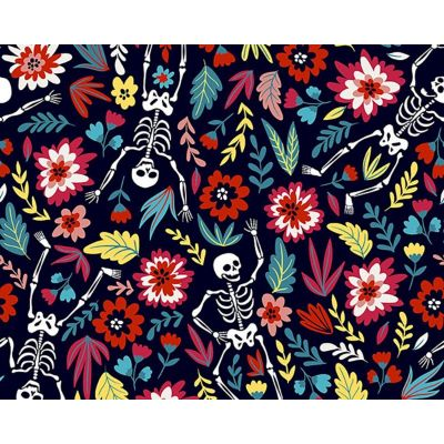 Digital Cotton Print  - Dancing Skeletons