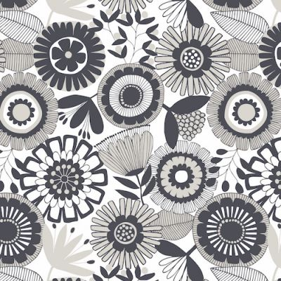 Dashwood Flourish Black And White Floral Cut Length