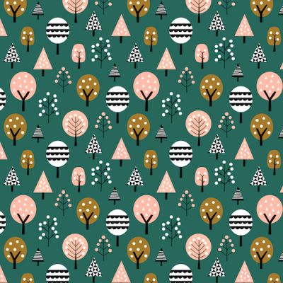 Dashwood Geo Forest Trees On Teal Cut Length