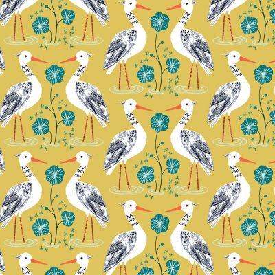 Dashwood Studio - Rivelin Valley - Egrets On Yellow