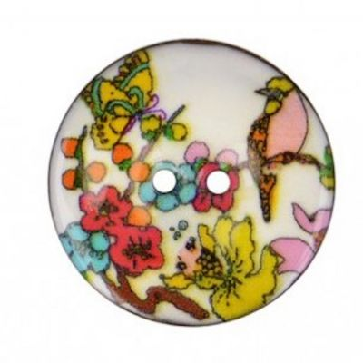 2 Hole Enamelled Coconut Shell Button Bird On Branch - 40mm / 64L