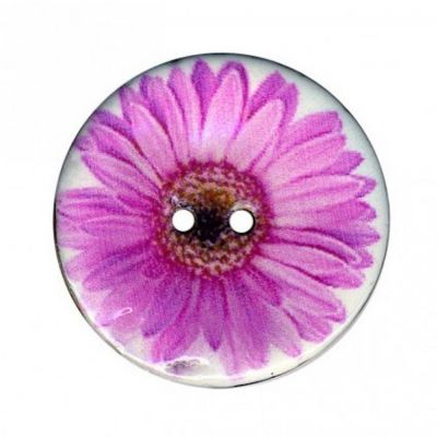 2 Hole Enamelled Coconut Shell Button Pink Daisy - 23mm / 36L