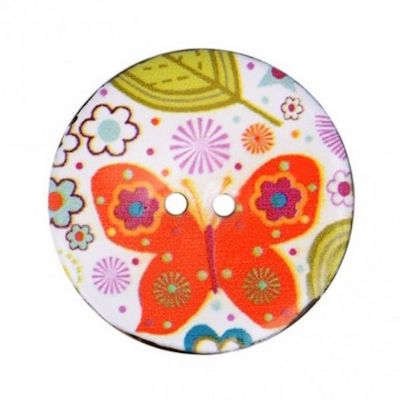 2 Hole Enamelled Coconut Shell Button Retro Butterfly - 23mm / 36L