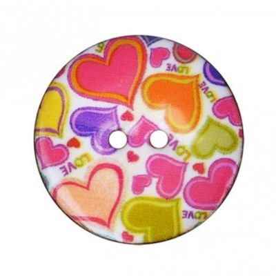 2 Hole Enamelled Coconut Shell Button Retro Hearts On White - 34mm / 54L