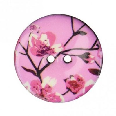 2 Hole Enamelled Coconut Shell Button With Blossom On Pink - 40mm / 64L